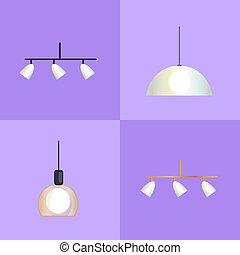 Set of Distinct Shapes Lamps Vector Illustration