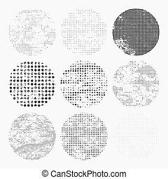 Set of distressed halftone textures. Vector illustration.