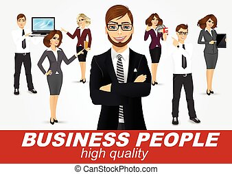 set of diverse business people