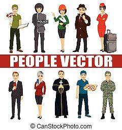 Set of diverse people. Various professions. Policeman, riot, architect, stewardess, priest, courier, soldier, reporter, detective