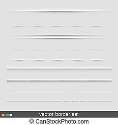Set of dividers, isolated on grey background