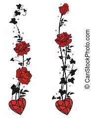 dividers with roses, heart, butterflies and ivy