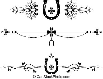 set of dividers with shamrock, horseshoe and lizard