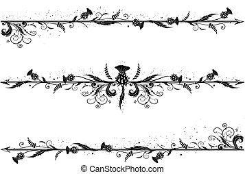 set of dividers with thistle - set of vector dividers with...