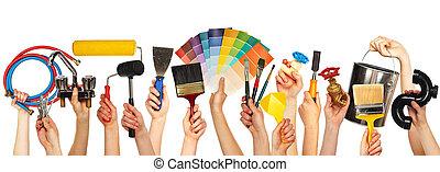 Set of diy tools. - Set of construction tools. House...