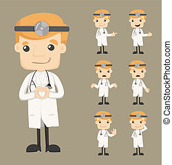 Set of doctor characters poses , eps10 vector format