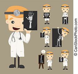 Set of doctor characters with x-ray, ultrasound , eps10 ...