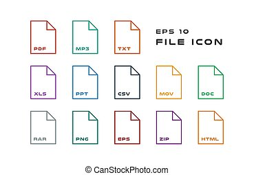Set of Document Labels and File Formats Icons. PDF, MP3, TXT, XLS, PPT, CSV, MOV, DOC, RAR, PNG, EPS, ZIP, HTML. Vector illustration. EPS 10