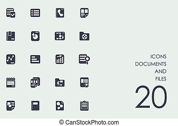 Set of documents and files icons