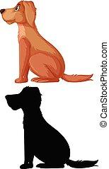 Set of dog and silhoutte illustration