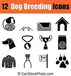 Set of dog breeding icons