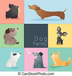 Set of dog family