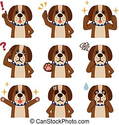 Set of dog look - Vector illustration. Original paintings...