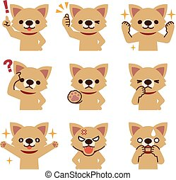Set of dog look - Vector illustration. Original paintings ...