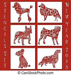 Set of dog stencils new year symbol, vector