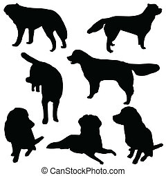 Set of dogs silhouette isolated