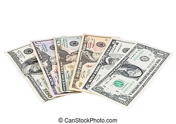Set of dollar banknotes on white background