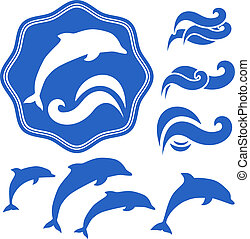 Set of Dolphins silhouettes. Blue waves on White