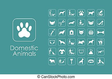 Set of domestic animals simple icons