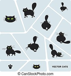 Set of domestic cats in different poses