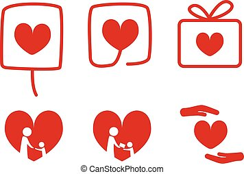 Set of Donation icons with love concept, vector