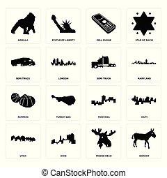 Set of donkey, moose head, utah, montana, pumpkin, semi truck, cell phone, gorilla icons