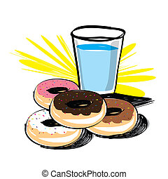 Set of donut vector hand drawn