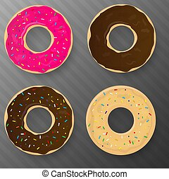 Set of Donut with glaze. Vector illustration.