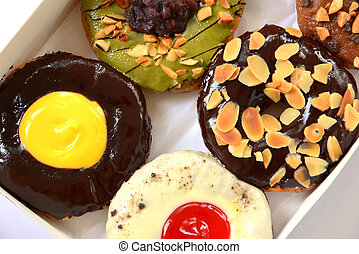 set of donuts in box