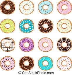 Set of donuts, vector illustration