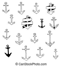 Set of doodle anchors, vector