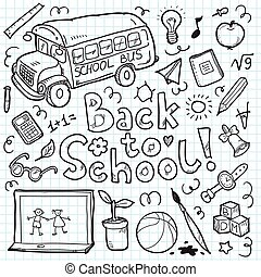 Set of doodle back to school elements. Vector illustration