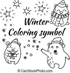 Set of doodle bears in vector