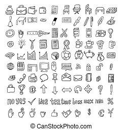 Set of doodle business icons set