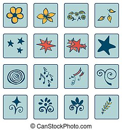 Set of doodle color on blue background icons, abstract ,