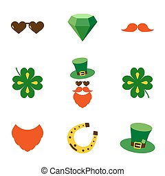 Set of doodle colorful items for Saint patrick s day celebration isolated on a white background.