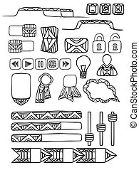 Set of doodle elements for web site with a boho pattern. Vector elements for your design