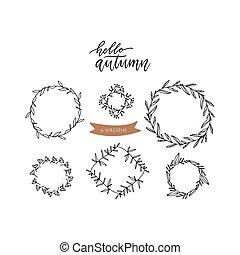 Set of doodle floral line leaf branches circle frames. Hansd drawn sketch illustration vector. Elegant frames in the form of wreaths.