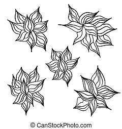 Set of doodle flowers. Vector design element