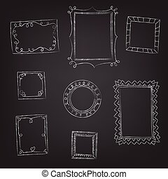 set of doodle frames hand drawn with chalk