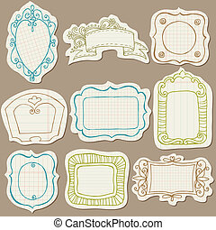 Set of Doodle Frames on torn paper - with Flower Elements in...