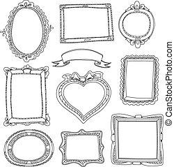Set of doodle frames on white background