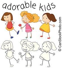 Set of doodle girl