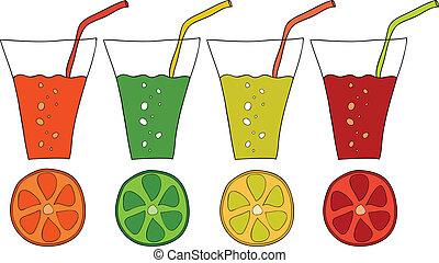 Set of doodle glasses of citrus juice