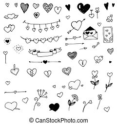 Set of doodle hearts, vector