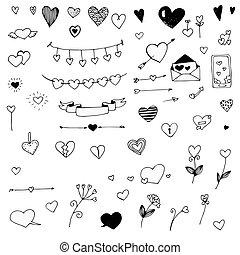 Set of doodle hearts, vector