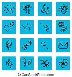 Set of doodle icons, congratulations theme,