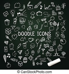 Set of doodle icons, vector hand-drawn objects with chalk