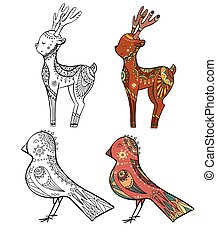 Set of doodle illustrations of christmas deer and tit with decoration. Contour and color drawing. Vector tribal object
