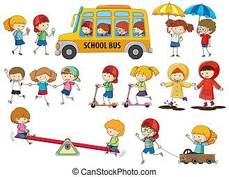 Set of doodle kids